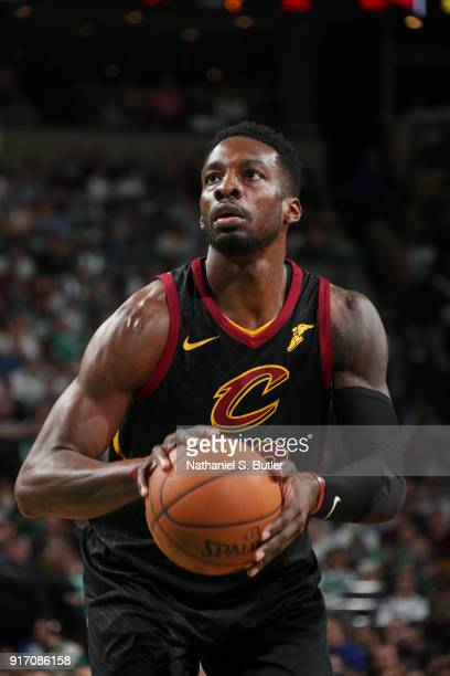 Jeff Green of the Cleveland Cavaliers shoots a free throw during the game against the Boston Celtics on February 11 2018 at TD Garden in Boston...