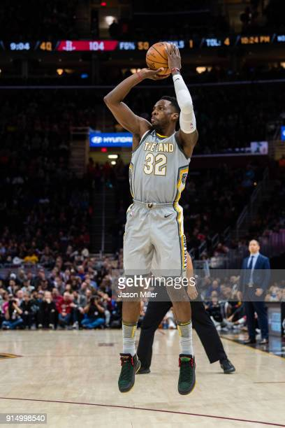 Jeff Green of the Cleveland Cavaliers shoots during the second half against the Houston Rockets at Quicken Loans Arena on February 3 2018 in...