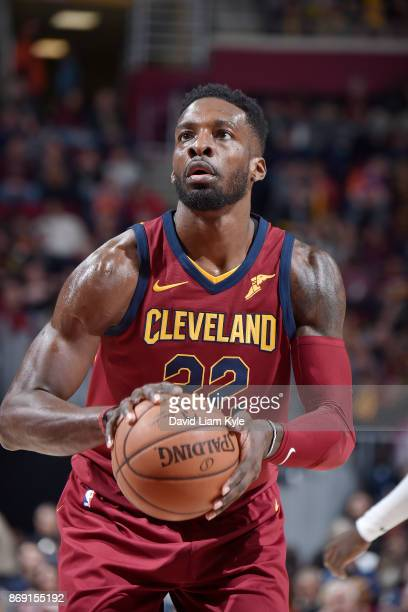 Jeff Green of the Cleveland Cavaliers shoots the ball against the Indiana Pacers on November 1 2017 at Quicken Loans Arena in Cleveland Ohio NOTE TO...