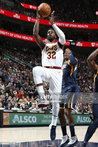 Jeff Green of the Cleveland Cavaliers shoots the ball against the Utah Jazz on December 30 2017 at Vivint Smart Home Arena in Salt Lake City Utah...
