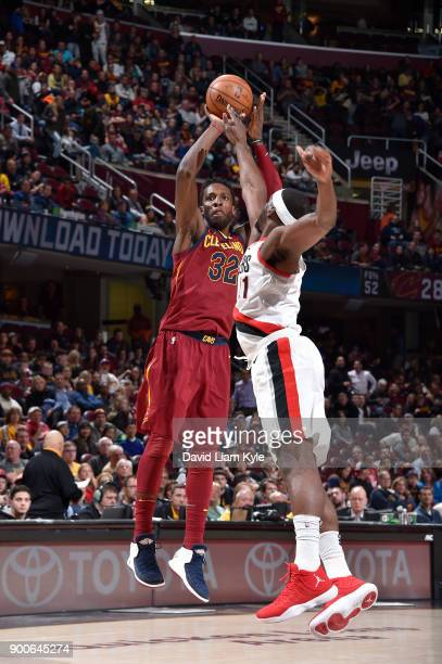 Jeff Green of the Cleveland Cavaliers shoots the ball against the Portland Trail Blazers on January 2 2018 at Quicken Loans Arena in Cleveland Ohio...