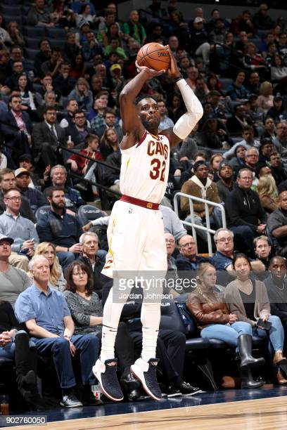 Jeff Green of the Cleveland Cavaliers shoots the ball against the Minnesota Timberwolves on January 8 2018 at Target Center in Minneapolis Minnesota...
