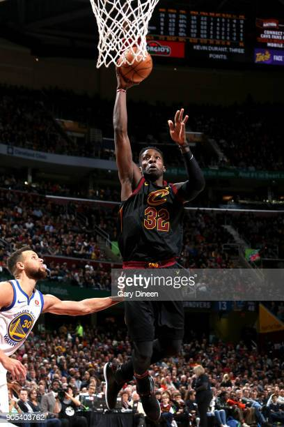 Jeff Green of the Cleveland Cavaliers shoots the ball against the Golden State Warriors on January 15 2018 at Quicken Loans Arena in Cleveland Ohio...