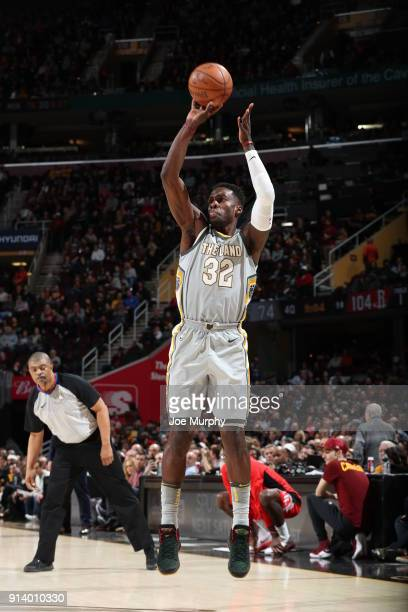 Jeff Green of the Cleveland Cavaliers shoots the ball against the Houston Rockets on February 3 2018 at Quicken Loans Arena in Cleveland Ohio NOTE TO...