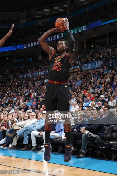 Jeff Green of the Cleveland Cavaliers shoots the ball against the Oklahoma City Thunder on February 13 2018 at Chesapeake Energy Arena in Oklahoma...