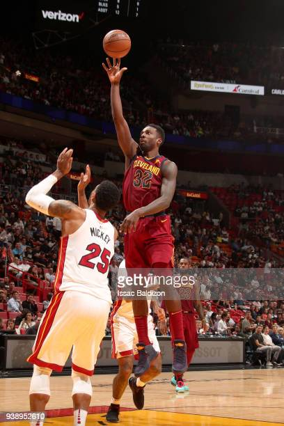 Jeff Green of the Cleveland Cavaliers shoots the ball against the Miami Heat on March 27 2018 at American Airlines Arena in Miami Florida NOTE TO...