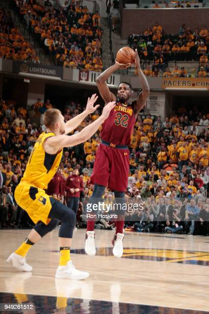 Jeff Green of the Cleveland Cavaliers shoots the ball against the Indiana Pacers in Game Three of Round One of the 2018 NBA Playoffs on April 20 2018...