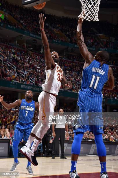 Jeff Green of the Cleveland Cavaliers shoots the ball during the game against the Orlando Magic on October 21 2017 at Quicken Loans Arena in...