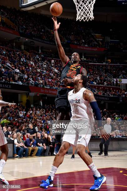 Jeff Green of the Cleveland Cavaliers shoots the ball during the game against the Washington Wizards on February 22 2018 at Quicken Loans Arena in...