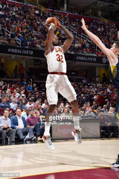 Jeff Green of the Cleveland Cavaliers shoots the ball during the preseason game against the Indiana Pacers on October 6 2017 at Quicken Loans Arena...
