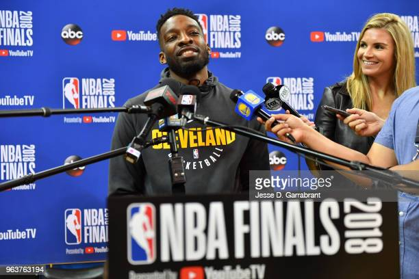 Jeff Green of the Cleveland Cavaliers speaks to the media during practice and media availability as part of the 2018 NBA Finals on MAY 30 2018 at...