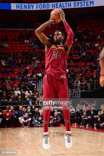 Jeff Green of the Cleveland Cavaliers takes the shot against the Detroit Pistons on November 20 2017 at Little Caesars Arena in Detroit Michigan NOTE...
