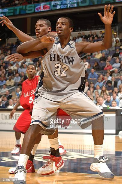 Jeff Green of the Georgetown Hoyas posts up during a college basketball game against Ball State Cardinals at Verizon Center on November 27 2006 in...
