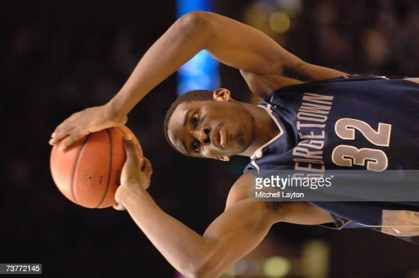 Jeff Green of the Georgetown Hoyas shoots a free throw against the North Carolina Tar Heels in the NCAA Men's East Regional Final at Continental...