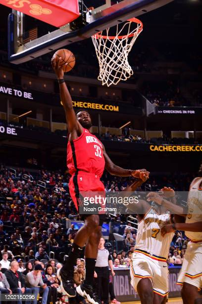 Jeff Green of the Houston Rockets drives to the basket against the Golden State Warriors on February 20 2020 at Chase Center in San Francisco...