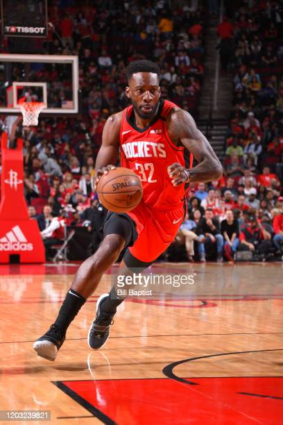 Jeff Green of the Houston Rockets drives to the basket during the game against the New York Knicks on February 24 2020 at the Toyota Center in...