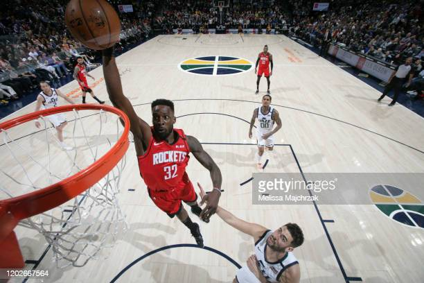Jeff Green of the Houston Rockets dunks the ball against the Utah Jazz on February 22 2020 at vivintSmartHome Arena in Salt Lake City Utah NOTE TO...