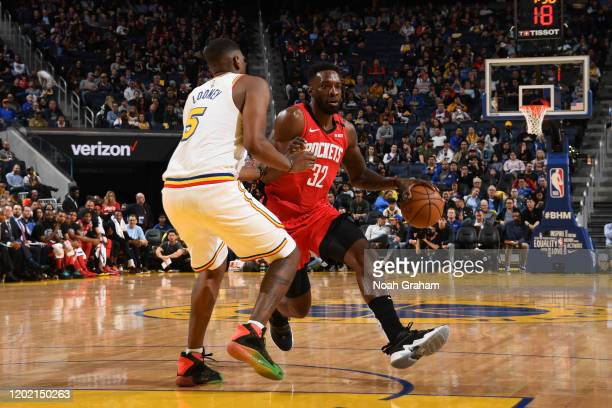 Jeff Green of the Houston Rockets handles the ball against the Golden State Warriors on February 20 2020 at Chase Center in San Francisco California...