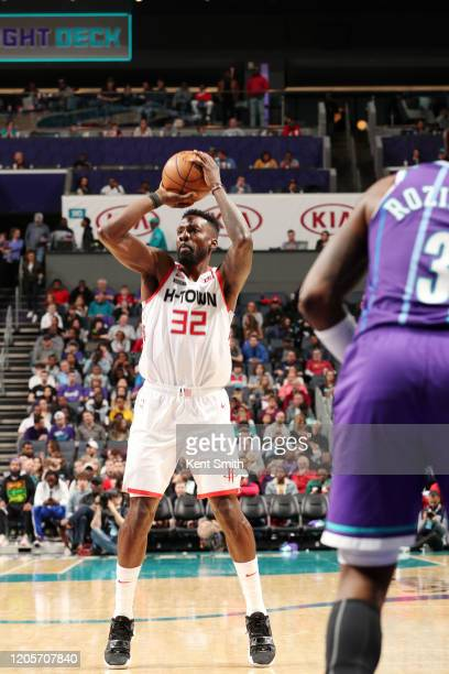 Jeff Green of the Houston Rockets shoots a three point basket during the game against the Charlotte Hornets on March 7 2020 at Spectrum Center in...