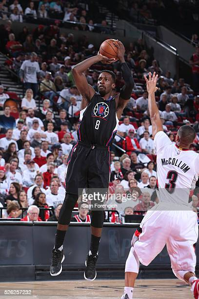Jeff Green of the Los Angeles Clippers shoots the ball against the Portland Trail Blazers in Game Six of the Western Conference Quarterfinals during...