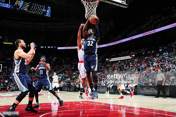 Jeff Green of the Memphis Grizzlies grabs the rebound against the Atlanta Hawks on October 21 2015 at Philips Arena in Atlanta Georgia NOTE TO USER...
