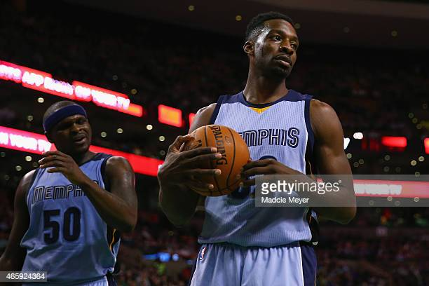 Jeff Green of the Memphis Grizzlies looks on during the third quarter against the Memphis Grizzlies at TD Garden on March 11 2015 in Boston...