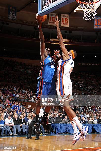 Jeff Green of the Oklahoma City Thunder goes to the basket against Jonathan Bender of the New York Knicks during the game on February 20 2010 at...