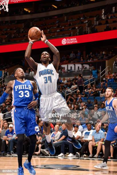 Jeff Green of the Orlando Magic shoots the ball against the Philadelphia 76ers during the game on March 20 2017 at Amway Center in Orlando Florida...
