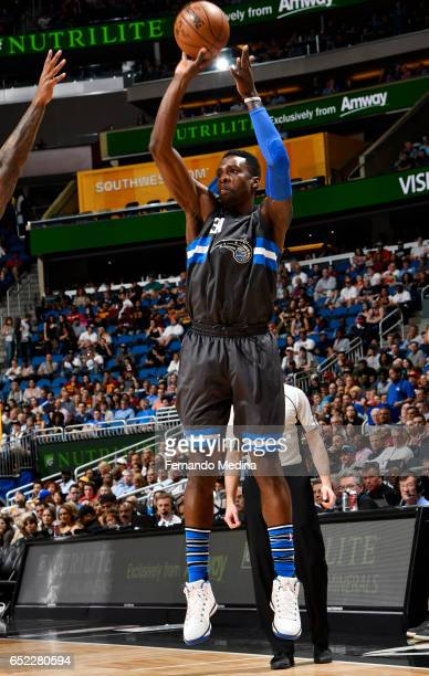 Jeff Green of the Orlando Magic shoots the ball against the Cleveland Cavaliers during the game on March 11 2017 at Amway Center in Orlando Florida...