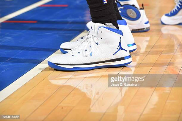 Jeff Green of the Orlando Magic showcases his Jordan brand sneakers against the New York Knicks at Madison Square Garden on January 2 2017 in New...