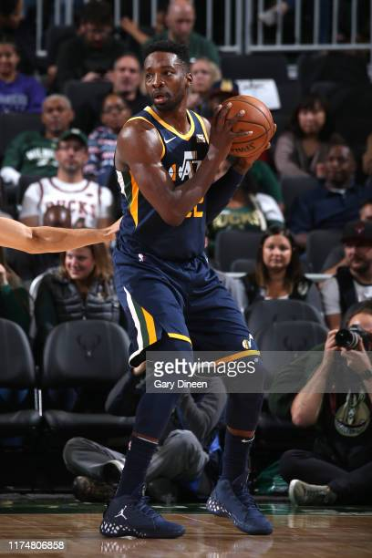Jeff Green of the Utah Jazz handles the ball against the Milwaukee Bucks on October 9 2019 at the Fiserv Forum Center in Milwaukee Wisconsin NOTE TO...