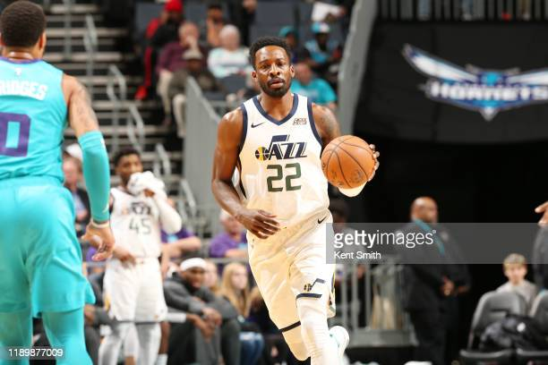 Jeff Green of the Utah Jazz handles the ball during a game against the Charlotte Hornets on December 21 2019 at Spectrum Center in Charlotte North...