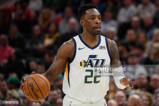 Jeff Green of the Utah Jazz looks on during an opening night game against the Oklahoma City Thunder at Vivint Smart Home Arena on October 23 2019 in...