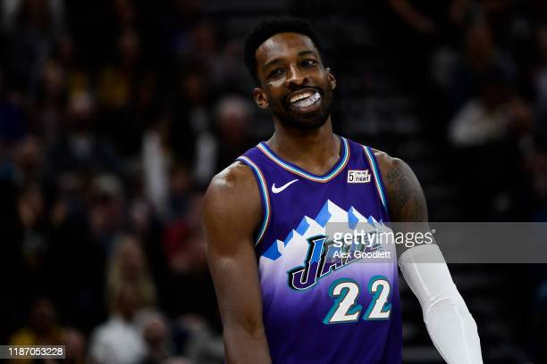 Jeff Green of the Utah Jazz reacts to a play during a game against the Memphis Grizzlies at Vivint Smart Home Arena on December 7 2019 in Salt Lake...