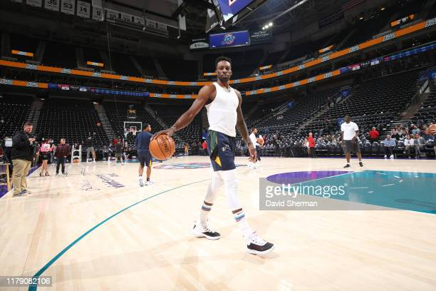 Jeff Green of the Utah Jazz warms up prior to a game against the LA Clippers on October 30, 2019 at Target Center in Minneapolis, Minnesota. NOTE TO...