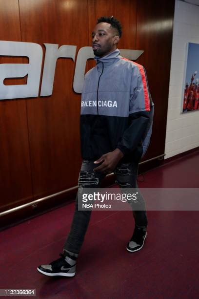 Jeff Green of the Washington Wizards arrives to the arena prior to the game against the Miami Heat on March 23 2019 at Capital One Arena in...