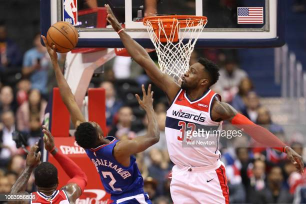 Jeff Green of the Washington Wizards attempts to block a shot by Shai GilgeousAlexander of the LA Clippers during the second half at Capital One...