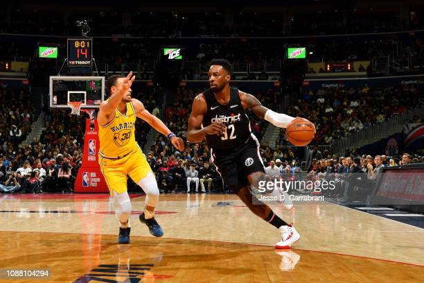 Jeff Green of the Washington Wizards handles the ball against the Golden State Warriors on January 24 2019 at Capital One Arena in Washington DC NOTE...
