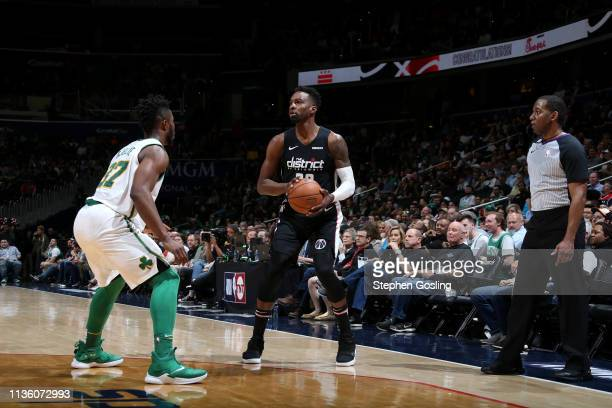 Jeff Green of the Washington Wizards handles the ball against the Boston Celtics on April 9 2019 at Capital One Arena in Washington DC NOTE TO USER...
