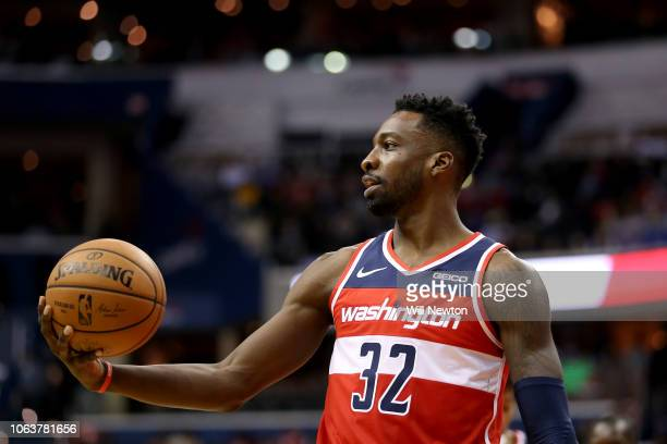 Jeff Green of the Washington Wizards looks on during the second half against the Oklahoma City Thunder at Capital One Arena on November 2 2018 in...