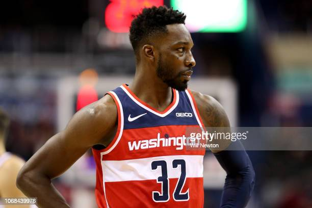 Jeff Green of the Washington Wizards looks on during the second half against the Cleveland Cavaliers at Capital One Arena on November 14 2018 in...