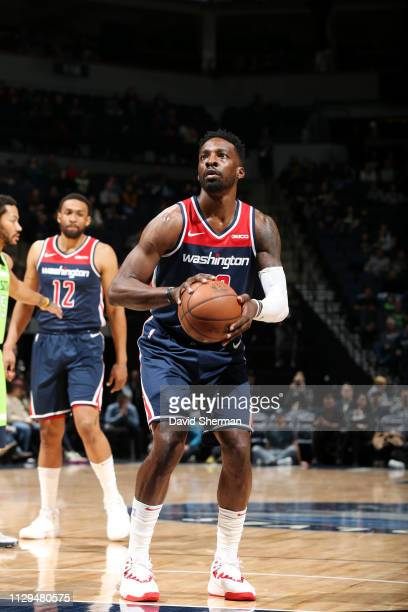 Jeff Green of the Washington Wizards shoots a free throw during the game against the Minnesota Timberwolves on March 9 2019 at Target Center in...