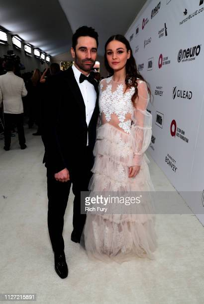 Jeff Gum and Sophie Skelton attend the 27th annual Elton John AIDS Foundation Academy Awards Viewing Party sponsored by IMDb and Neuro Drinks...