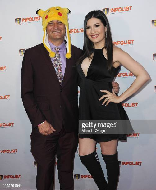 Jeff Gund and Celeste Thorson attend InfoListcom's PreComicCon Bash held at Wisdome Immersive Art Park on July 11 2019 in Los Angeles California