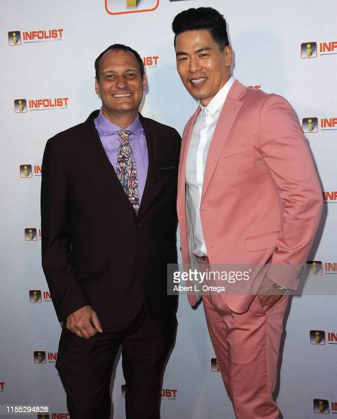 Jeff Gund and Rich Ting attend InfoListcom's PreComicCon Bash held at Wisdome Immersive Art Park on July 11 2019 in Los Angeles California