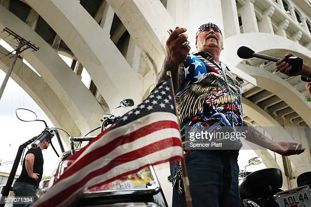 Jeff Gunder a member of the Bikers for Trump motorcycle group attends a rally for Donald Trump on the first day of the Republican National Convention...