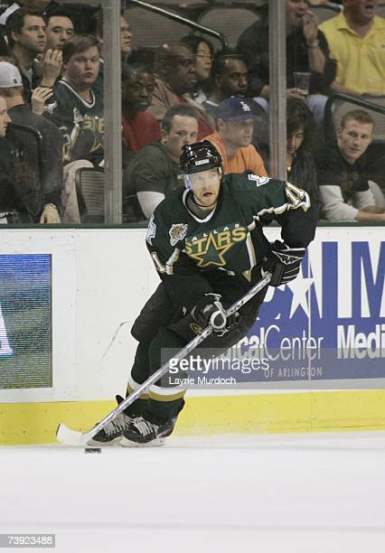 Jeff Halpern of the Dallas Stars skates with the puck against the Vancouver Canucks during game three of the 2007 NHL Western Conference...