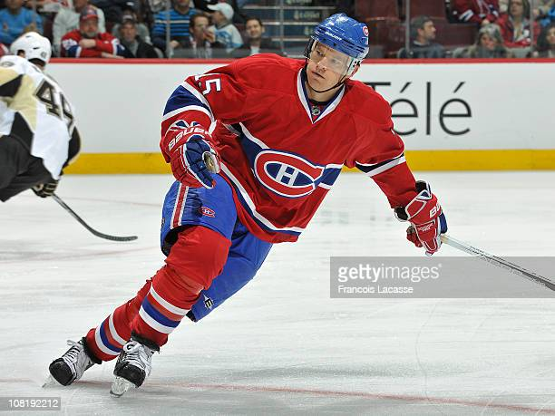 Jeff Halpern of the Montreal Canadiens skates during the NHL game against the Pittsburgh Penguins on January 12 2011 at the Bell Centre in Montreal...