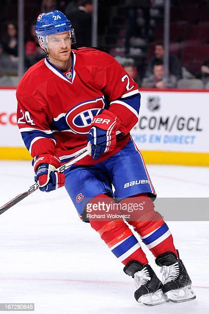 Jeff Halpern of the Montreal Canadiens skates during the warm up period prior to facing the Winnipeg Jets in their NHL game at the Bell Centre on...