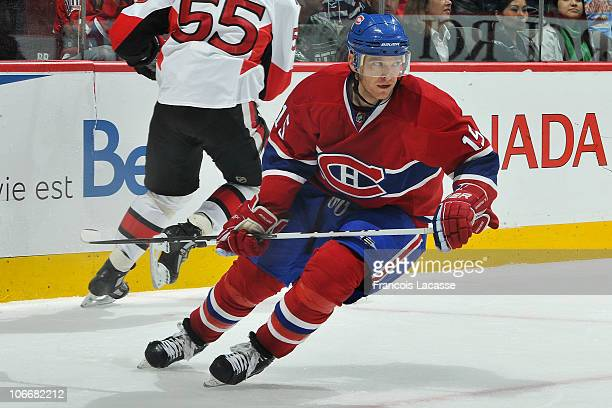 Jeff Halpern of the Montreal Canadiens skates durning the NHL game against the Ottawa Senators on November 6 2010 at the Bell Centre in Montreal...